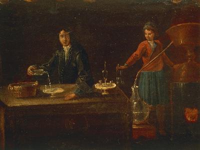 The Chemist's Laboratory, Painting, Italy, 18th Century
