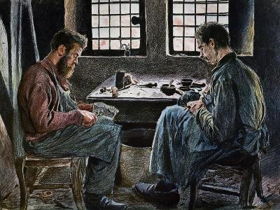 Cobblers at Work, Lithograph, Belgium, 19th Century