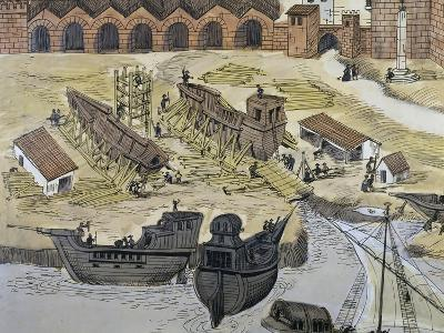 Caravel Being Built in Port of Seville, 1740, Spain, 18th Century