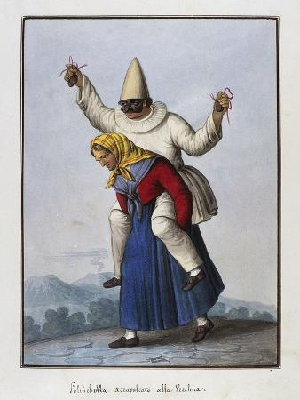 Pulcinella on Old Woman's Back, Italy, 19th Century