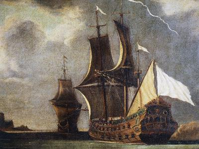 French 74-Gun Ship, Oil on Canvas, 17th Century