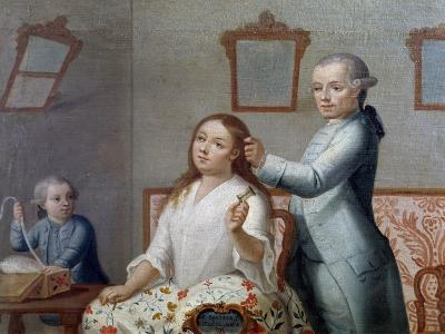 The Hairdresser, Painting, Mexico, 18th Century