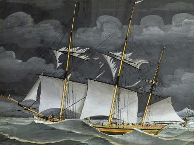 Ligurian Polacca (Mercantile Three-Mast Ship) Italy, 19th Century