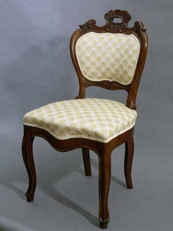 Louis Philippe Style Walnut Chair, 1840-1850, Italy, 19th Century