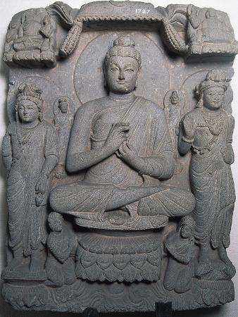 Bas-Relief Depicting Buddha, Gandhara Art, Peshawar, Pakistan