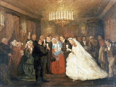 Wedding, Painting by Leonid Solomatkin (1837-1883)