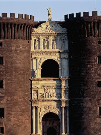Facade of a Castle, Maschio Angioino Castle, Naples, Campania, Italy