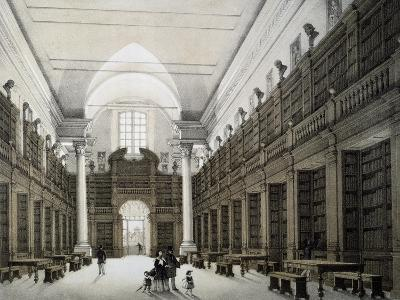 Library Room, University of Bologna, Lithograph, Italy, 19th Century