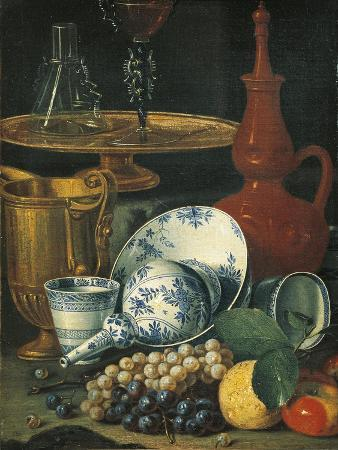 Italy Florence, Still Life with Crockery, Glassware and Fruit