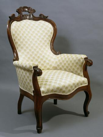 Louis Philippe Style Walnut Armchair, 1840-1850, Italy, 19th Century