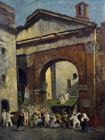 Masked People at the Portico of Octavia in Rome, Italy, 19th Century
