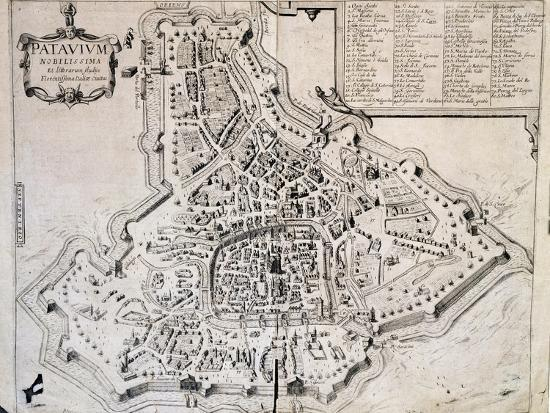 City Map Of Padua Italy 17th Century Giclee Print At Allposters Com