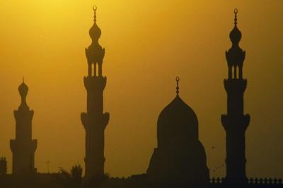 Al-Rifa'I and Sultan Hasan Mosques' Minarets at Sunset, Cairo, Egypt
