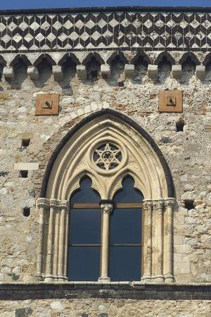 Close-Up of an Arched Window of a Palace, Taormina, Sicily, Italy