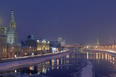 The Moskva River at the First Light of Evening, Moscow, Russia