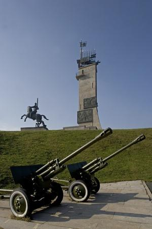 Two Guns in Front of World War II Monument, Novgorod, Russia