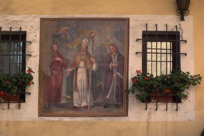 St Ursus, Fresco on House in Aosta, Valle D' Aosta, Italy