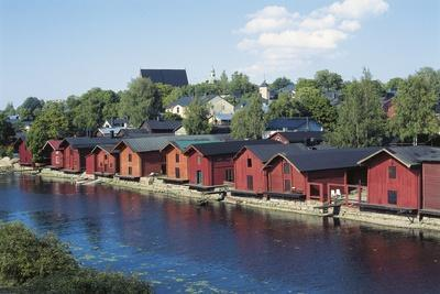 Wooden Warehouses on Porvoonjoki Riverfront, Porvoo, Finland
