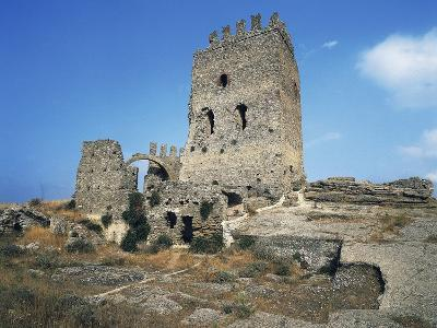 Ruins of Castle in Cefala Diana, 13th Century, Sicily, Italy