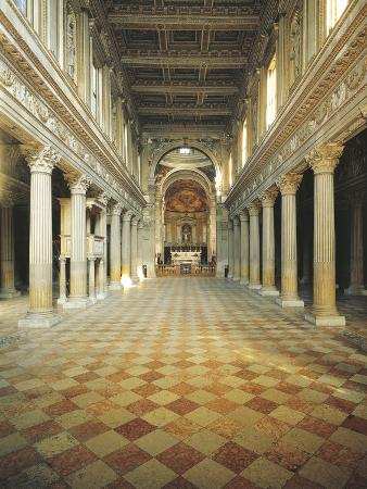 Empty Aisle of a Cathedral, Mantua, Lombardy Region, Italy
