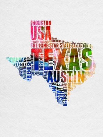 Texas Watercolor Word Cloud