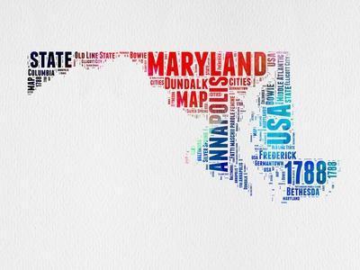 Maryland Watercolor Word Cloud