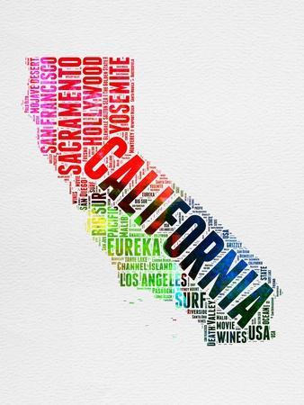 California Watercolor Word Cloud