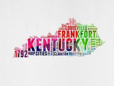 Kentucky Watercolor Word Cloud