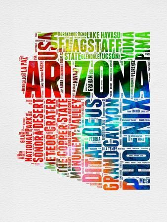 Arizona Watercolor Word Cloud