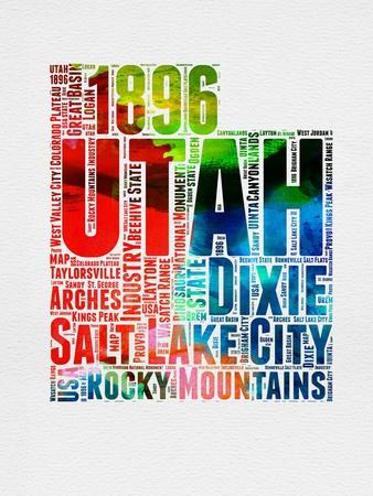 Utah Watercolor Word Cloud