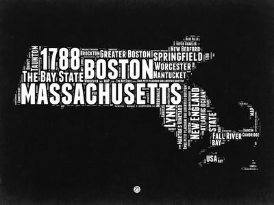 Massachusetts Black and White Map