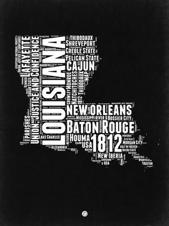 Louisiana Black and White Map