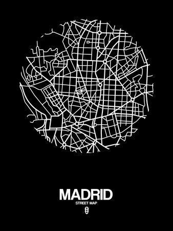 Madrid Street Map Black