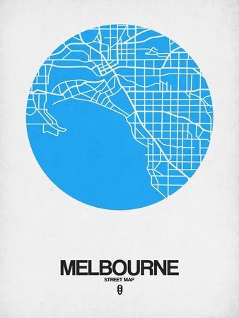 Melbourne Street Map Blue