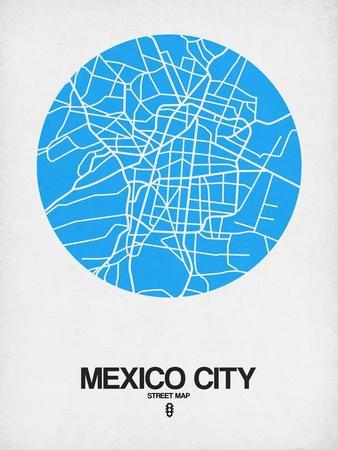 Mexico City Street Map Blue