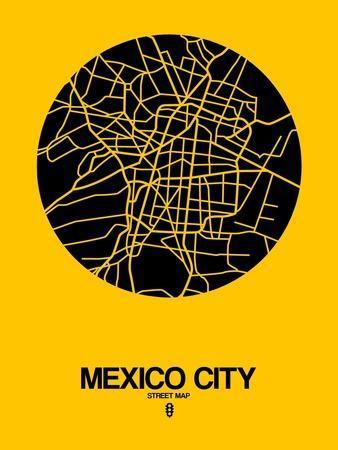 Mexico City Street Map Yellow