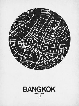 Bangkok Street Map Black on White