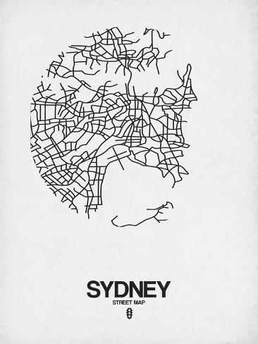 Sydney Street Map White Posters By Naxart At Allposters Com