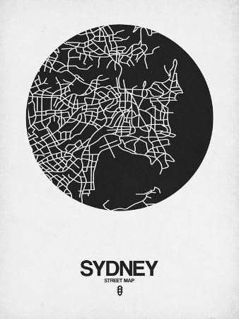 Sydney Street Map Black on White