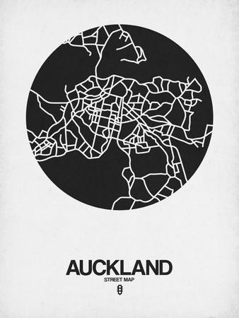 Auckland Street Map Black on White