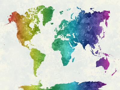World Map in Watercolor Rainbow