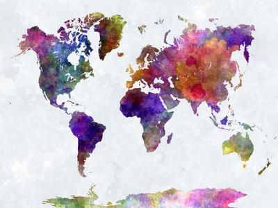 World Map in Watercolorpurple and Blue