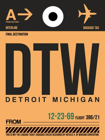 DTW Detroit Luggage Tag 1