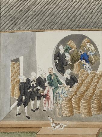 Turbanned Dutch Voc Merchants Smell Tea for Quality in a Canton (Guangzhou) Tea Warehouse, C.1770