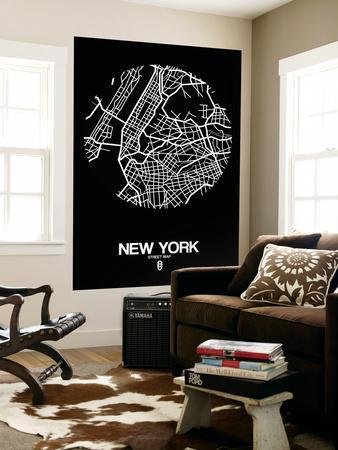 New York Street Map Black
