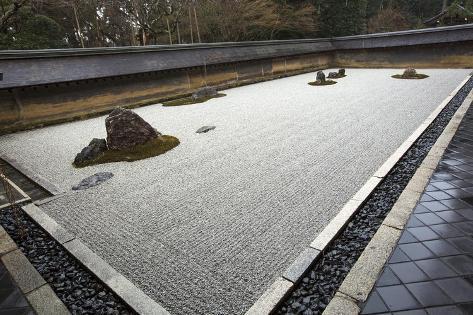 A Japanese Rock Garden At Ryoanji Gardens