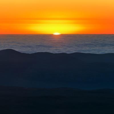 The Sun Sets over the Pacific Ocean and the Atacama Desert