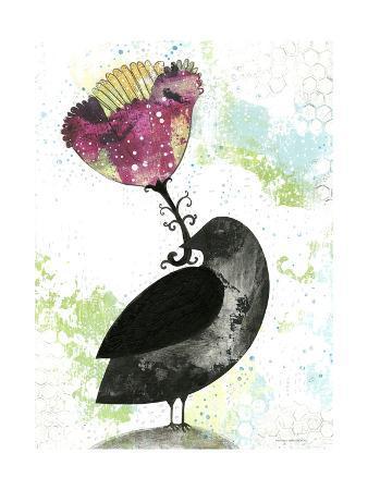 Folk Crow with Flower