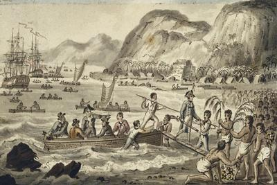 Captain Cook Landing 'N Owyhee', from the Voyages of Captain Cook
