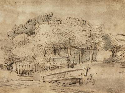 Farmhouse Beneath Trees, with a Footbridge, C.1650